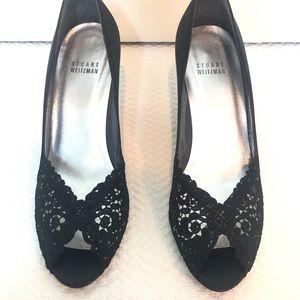 Stuart Weitzman Shoes - Stuart Weitzman Satin Lace Peep Toe Heels Black